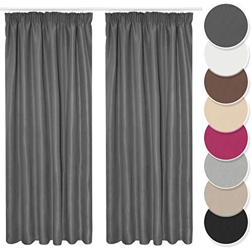 Melody Vorhang 2er Set Gardine Curtain Blickdicht Kräuselband dunkelgrau 140x175 cm kurz #9018