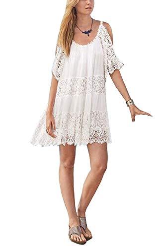 ACLOIN Damen Strandkleid Sommer Kurz Weiß Baumwolle Boho Bikini Cover up Häkeln Strandponcho Schulterfrei Kleid Sommerkleid