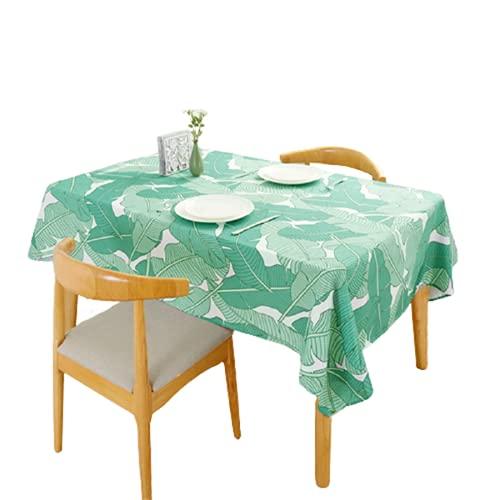Materiale Poliestere Tovaglia Rettangolare Impermeabile Tovaglia Quadrata Tavolino Tovaglia Verde Foglia Modello Adatto per Soggiorno Decorazione Cucina Hotel 140x180cm