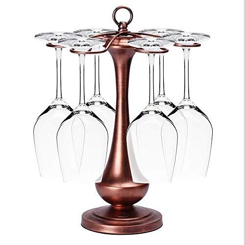Pgs Wine Rack, Stijlvol European Style Upside Down Wine Glass Rack, Vintage Tower Ontwerp Het metaal Wine Glass Cup Vrijstaande tafelblad Stemware opslag Rack, met 6 haken, vijf kleuren, 15 * 10.8