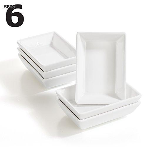 Urban Lifestyle 6 x Rechteckiges Saucenschälchen/Dipschale Fingerfood Set aus Porzellan Kinki (8,8 x 6,2 x 2,3cm)