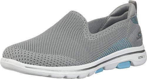 Skechers Go Walk 5 Prized, Zapatillas Mujer, Gris (Grey Textile/Trim Gy Bl), 38.5 EU
