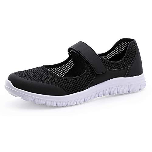 MecKiss - Zapatillas de deporte para mujer, para verano, para el tiempo libre, fitness, caminar, con cierre de velcro, color Negro, talla 36 EU