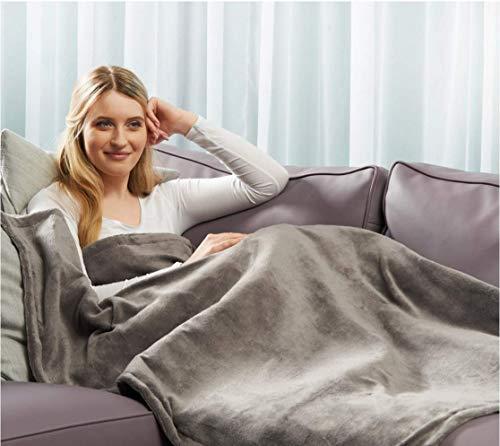 Premium Plüsch XXL Heizdecke Grau Elektrische Wärmebett Wärmeunterbett Wärmedecke mit Abschaltautomatik & Überhitzungsschutz & Timer waschbar (Grau)