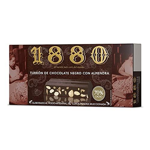 1880 - Turrón de Chocolate Negro al 70% Elaborado com Almendra Seleccionada y Cacao 70%, Típico Dulce Navideño Receta Artesanal Pre-Cortado para Fácil Consumo, Turrón Tradicional, 250 Gramos