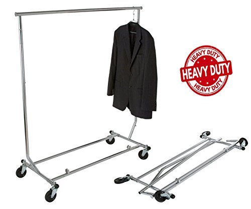 Only Hangers GR100 - Heavy Duty True Commercial Grade Rolling Rack Designed with Solid'One Piece' Top Rail