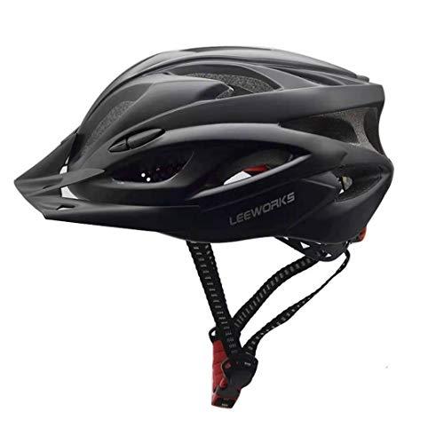 Leeworks Bike Helmet Cycle Bicycle Cycling Helmet Mens Adults Mountain All Road Bike Electric Scooter Accessories MTB Racing Helmet (Carbon Black, L)