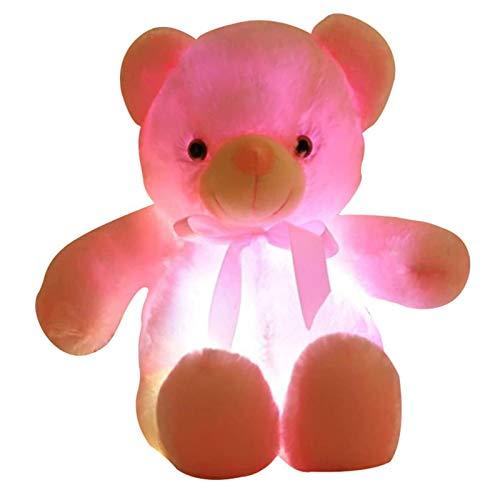 Kuscheltier, LED LED Induktive Teddybär Kuscheltiere Plüschtier Bunt leuchtend Teddybär Spielzeug Geschenke für Schlafzimmer Kinder Weihnachten Valentinstag (Rosa, 50cm)