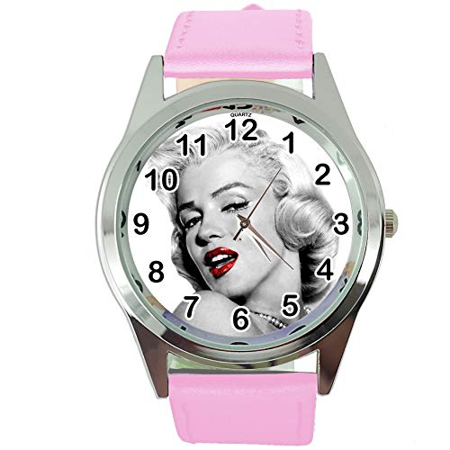 DREAMWATCH Womens Watch Analogue Quartz with Real Leather Band Pink Round Marilyn Monroe