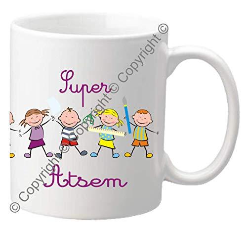 Mug Super ATSEM - Le Cadeau Original de Fin d'Année Scolaire. L'école est finie ! Vive les Vacances !
