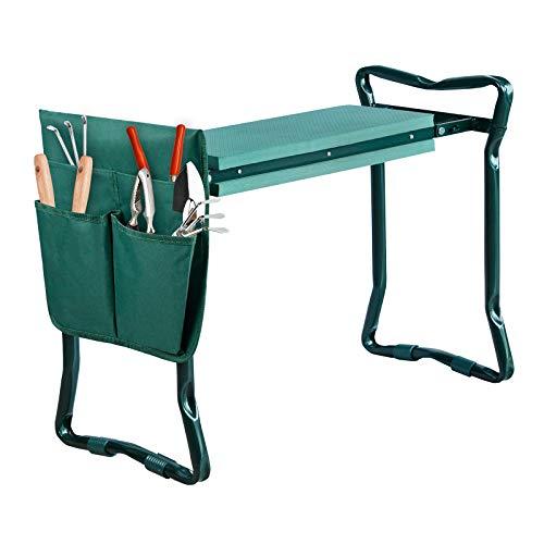 Aufun Kniebank 60 x 49 x 28 cm Gartenbank Hocker Faltbar Knie Stuhl aus Stahlrohr, Sitzunterlage aus Eva-Schaumkissen, Gartensitz Kniehocker, Grün