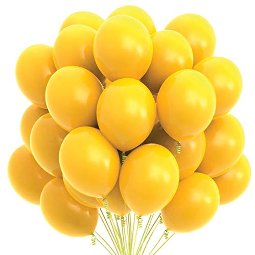 Prextex 75 Yellow Party Balloons 12 Inch Yellow Balloons with Matching Color Ribbon for Yellow Theme Party Decoration, Weddings, Baby Shower, Birthday Parties Supplies or Arch Décor - Helium Quality