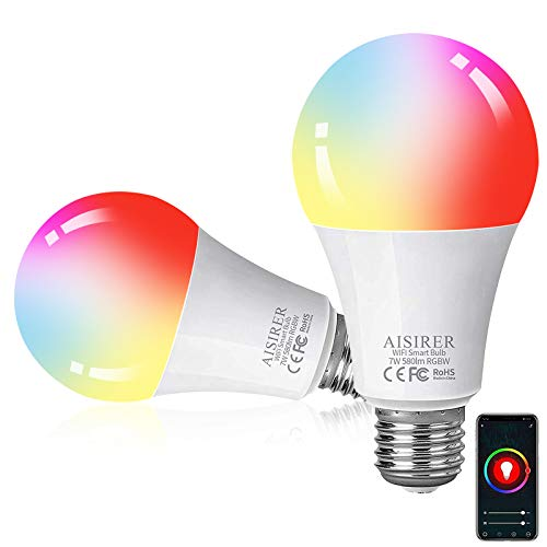 WiFi Smart Bulb, AISIRER E26 RGBW LED Alexa Light Bulb, Color Changing Smart Bulbs 60W Compatible with Alexa and Google Home, No Hub Required, 2 Pack