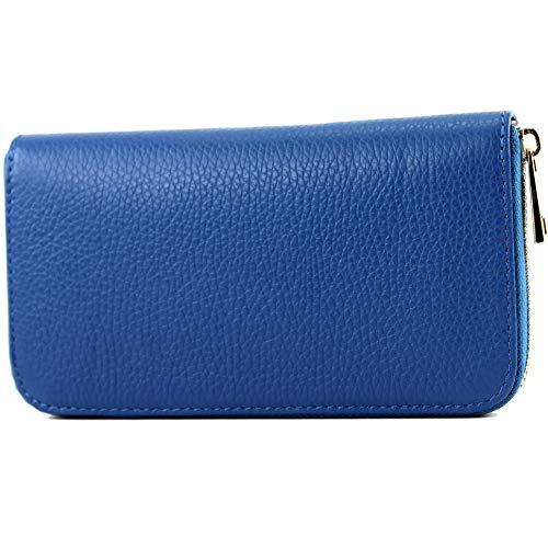 modamoda de - P02 - ital. Damen Portemonnaie Echtleder lang, Farbe:P02 Blau