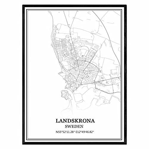 Landskrona Suecia Mapa de pared arte lienzo impresión cartel obra de arte sin marco moderno mapa en blanco y negro recuerdo regalo decoración del hogar