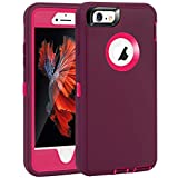 """MAXCURY for iPhone 6 Case iPhone 6S Case, Heavy Duty Shockproof Series Case for iPhone 6/6S (4.7"""")-V2 with Built-in Screen Protector Compatible with All US Carriers (Wine/Fuchsia)"""