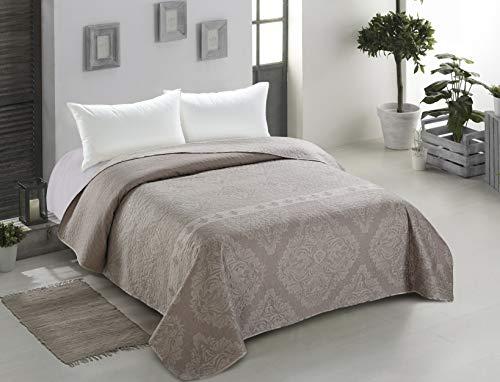 DecoKing 40997 Tagesdecke 260x280 cm Graphit weiß Bettüberwurf zweiseitig Steppung pflegeleicht geometrisches Muster grau Stahl anthrazit Home