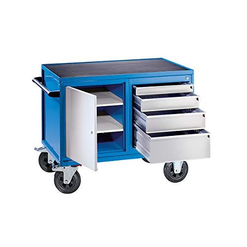 EUROKRAFT Montagewagen, Tragfähigkeit 500 kg - 1 Schrank, 4 Schubladen, weißaluminium RAL 9006 / lichtblau RAL 5012 - Fahrbare Werkbänke Fahrbare Arbeitstische Werkbänke, fahrbar Fahrbare Werkbänke