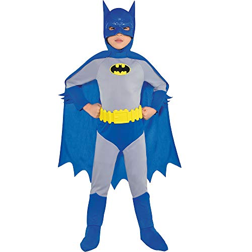 Costumes USA Classic Batman Halloween Costume for Boys, The Brave and the Bold, 3-4T, Includes Jumpsuit, Mask and More