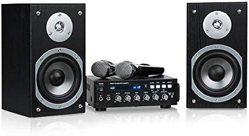 auna Karaoke Star 3 Karaoke-Set  araoke-System  araoke-Anlage   x 75 W max.  luetooth  SB  ine-In  nkl. Mikrofone und Lautsprecherkabel  chwarz
