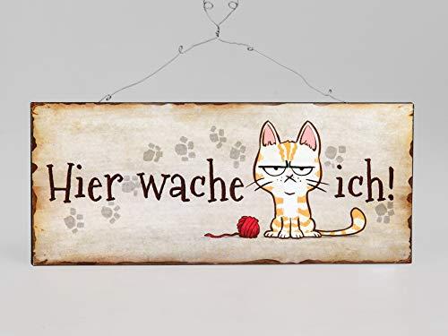 Rostalgie Metall Schild Katze Hier wache Ich mit Bildmotiv 30x12cm Geschenk Indoorschild