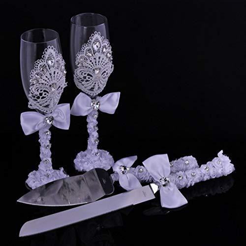 Jarra de Cerveza Torta de cuchillo 1 Ducha nupcial de la boda Par tostar el champán del regalo de boda del cordón de vasos, decorado con encaje de la boda taza del vino + lace ( Color : 1 pair