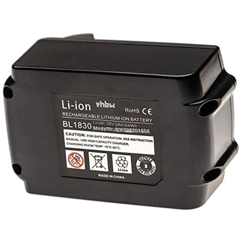 vhbw Batería recargable compatible con Makita BML185 FlashLight, BML185W, BML186, BML800, BML801 herramientas eléctricas (3000 mAh Li-Ion 18 V)