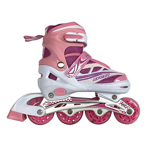 Tante Tina Inliner für Kinder - Kinder Inliner verstellbar mit leuchtenden Rollen - Kinderinliner Rollschuhe größenverstellbar in 4 Größen - Pink S (31-34)