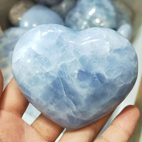 ZZLLFF Corazón de Cristal de Cuarzo Natural Hecho a Mano Celestina corazón Chakra Piedras Preciosas Piedra Cristales de Equilibrio Collector sanación Reiki (Size : 150g)