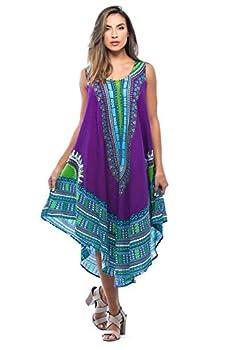 Riviera Sun 21755-PRP-FS Dashiki Dress Dresses for Women Purple