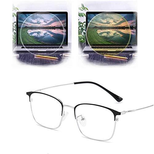 WENLIANG Gafas De Microperspectiva, Gafas De Metal con MiopíA De Ojo De Gato, Gafas De Bloqueo De Luz Azul para Mujeres/Hombres F
