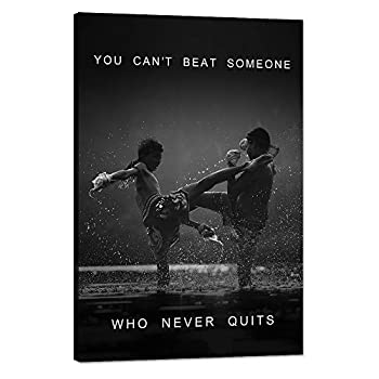 """Inspirational Wall Art Motivational Fighting Canvas Painting Muay thai Pictures Thai Boxing Posters and Prints Artwork Modern Inspiring Office Living Room Sport Gym Decorations Framed  12""""Wx18""""H"""