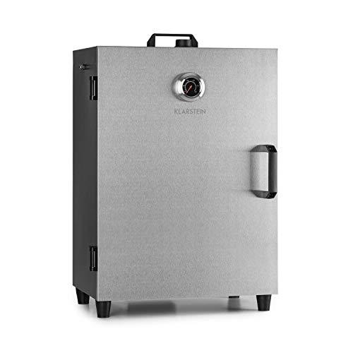 Klarstein Flintstone Steel Räucherofen - Räucherschrank, 1600 Watt, regelbarer Thermostat, integriertes Thermometer, 3 Räucherroste, Stahltür, Magnetverschluss, Lüftungsklappe, Edelstahl
