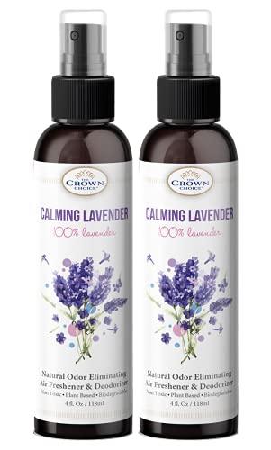 Natural Lavender Spray – 2Pack of 4oz Essential Oil Lavender Room Spray Air Freshener – Use in Rooms, Bedding, Linen, Body Spray, Air Freshner – USA Made