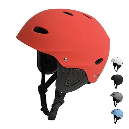 Vihir BMX Helm Wakeboard Helm Skaterhelm Fahrradhelm Herren Damen Jungs & Kinderhelm Wassersport Helm mit Ohrenschützer ABS+Eva (L 57-63CM, Rot)