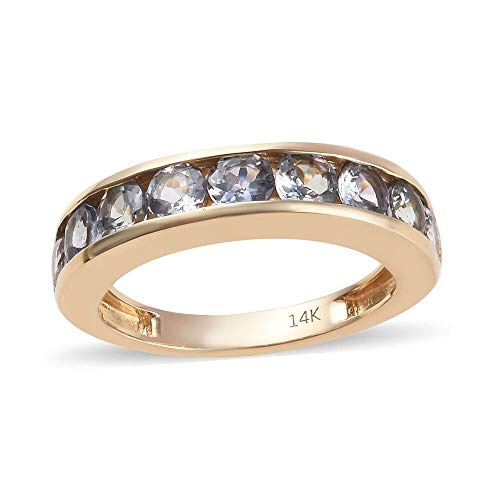 TJC Peacock Tanzanite 14ct Yellow Gold Half Eternity Ring for Women Size R, 2 Ct
