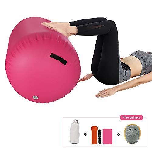 Best Buy! ibigbean Air Roller Inflatable Gymnastic Barrels for Gym Training - Pink - 60cm Diameter