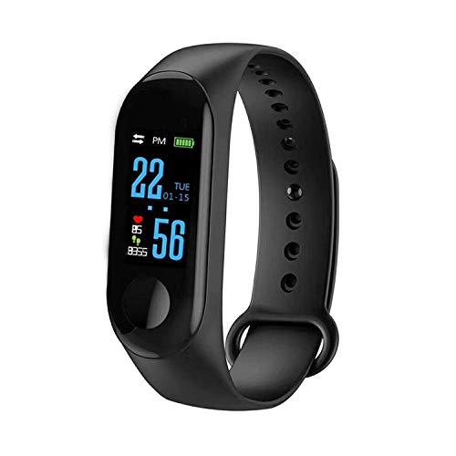 Fitness Armband M3 mit Pulsmesser, Wasserdicht IP67 Pulsuhren Fitness Tracker Aktivitätstracker Schrittzähler Uhr Herren, Damen, Kinder smartwatch Anruf Nachrichten beachten (schwarz)