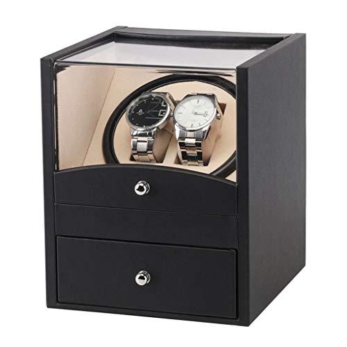 QLL Cassetto Espositore in Legno Con Sistema di Ricarica Watch Winder a Due Posti 3 Modalità di Rotazione Per 2 Orologi da Polso (Color : Black)