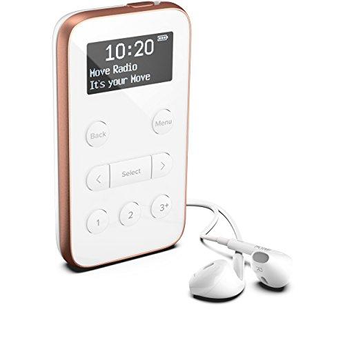 Pure Move R3 Taschenradio (DAB/DAB+ Digital und UKW-Radio, inklusive Noise-Cancelling Kopfhörer, OLED Display, Sleep-Timer und 15 h Akkulaufzeit, 20 Senderspeicherplätze), Weiß