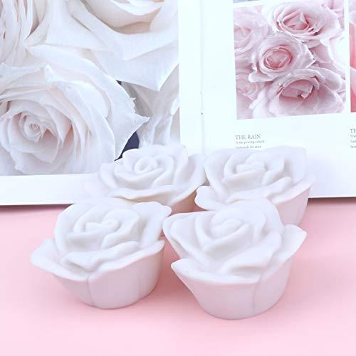 Mobestech 6 stücke schwimm teelicht farbwechsel rose wasserdicht schwimmende led kerzen teelicht spa bad lichter für hochzeit dekoration