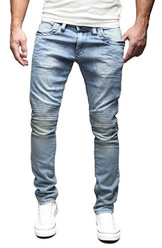 MERISH Herren Jeanshose Chino SLIM FIT Jeans Hose 4 Farben Neu Style Trend J1166 Dunkelblau 34/32