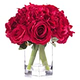 Enova Home Mixed Rose and Hydrangea Silk Flower Arrangement in Glass Vase with Faux Water for Home Weddnig Centerpiece (Red)