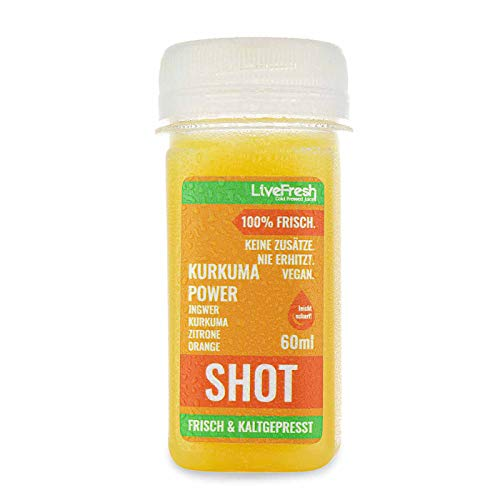 LiveFresh Wellness SHOT - KURKUMA & INGWER - 60ml | Kaltgepresst aus frischem Kurkuma, Ingwer, Orange, Zitrone | Keine Zusätze, kein zusätzlicher Zucker | Gekühlt und isoliert geliefert (16)