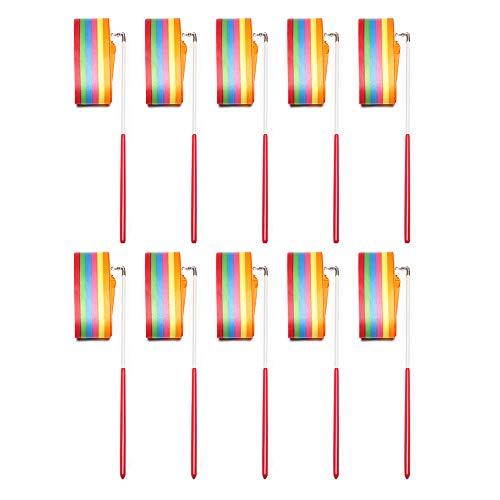 Surplex 10pcs 2 Metros de Arte Gimnasia Cinta rítmica Twirling Baton Rod, Gym Dance Ribbon Wand Streamer y Stick para niños, Rainbow