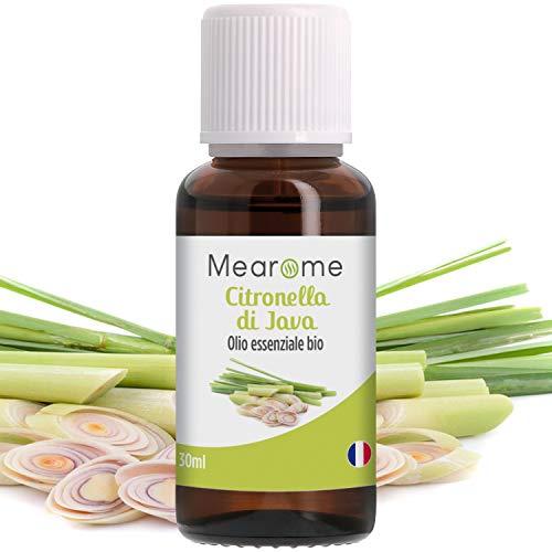 Citronella Olio Essenziale Biologico • 100% Puro Naturale • Aromaterapia Diffusori Massaggi Uso Alimentare e Antizanzare • Certificato OEBBD OECT Agricoltura Biologica • 30 ML Mearome (Citronella)
