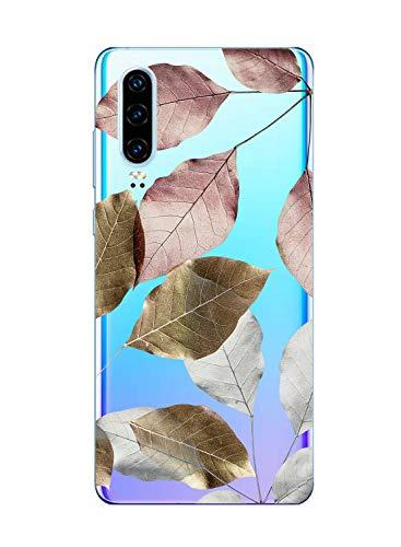 Suhctup Compatible con Huawei P8 Lite 2017 Funda Flor de TPU Transparente Diseño de Flores Patrón Cárcasa Ultra Fina Suave con Dibujos Claro Silicona Antigolpes Proteccion Caso(A7)