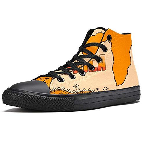 TIZORAX High Top Sneaker für Herren, afrikanische Karte mit Tribal-Muster, modische Schnürschuhe, Canvas-Schuhe, Mehrfarbig - mehrfarbig - Größe: 43 1/3 EU