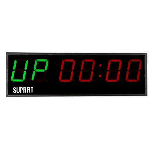 Suprfit Osrun Intervall Timer - Sporttimer mit 6 großen Ziffernfeldern, Fitness Timer mit LED Display und 5 Modi, 12 Speicherplätze, inkl. Fernbedienung, Signalton, zur Wandmontage geeignet