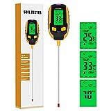 Vakdon Digitale Version 5in1 Boden-pH-Meter, Bodentester, für PH-Wert/Lichtintensität/Temperatur/Bodenfeuchtigkeits/Umgebungsfeuchtigkeit, Boden-Feuchtigkeitsmessgerät für Garten, Indoor, Outdoor (S2)